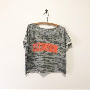 Clemson Camouflage Short Sleeve Cropped Sweatshirt